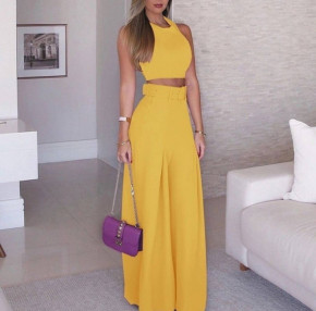 Γυναικείο σετ τοπάκι και παντελόνι με ζώνη 908990 κίτρινο