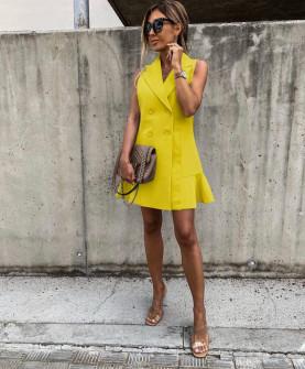Γυναικείο φόρεμα με κουμπιά από τις δύο πλευρές 5066 κίτρινο