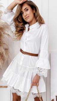 Γυναικείο φόρεμα με δαντέλα 5561 άσπρο