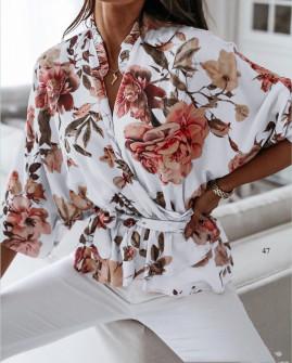 Γυναικεία μπλούζα με κορδόνι στη μέση 5033 άσπρο