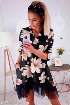 Γυναικείο φόρεμα με print και δαντέλα 502401 μαύρο