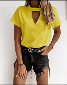 Γυναικεία κοντομάνικη μπλούζα 5167 κίτρινη