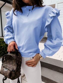 Дамска блуза с обемни ръкави 24155 светло синя