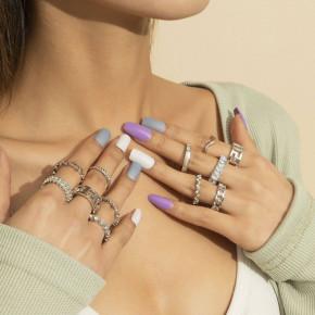 Γυναικείο σετ δαχτυλίδια 12τμχ. SP327 ασημί