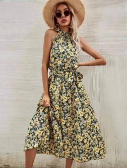 Γυναικείο φόρεμα με φλοράλ ντεσέν 635701