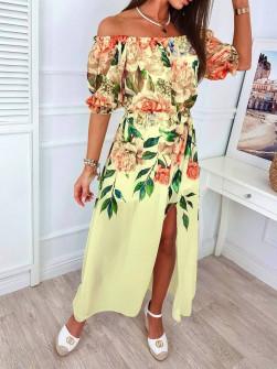 Γυναικείο φόρεμα φλοράλ 56133 κίτρινο