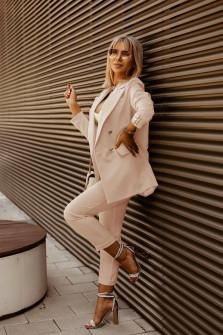 Γυναικείο σετ σακάκι και παντελόνι 5911 μπεζ