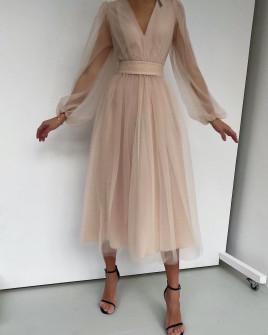 Φόρεμα με τούλι 2698 μπεζ