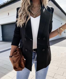 Γυναικείο μακρύ σακάκι με φόδρα 2473  μαύρο