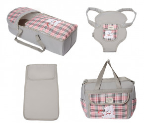 Σετ πορτ μπεμπέ, τσάντα, μάρσιπος και στρώμα 04113 γκρι/ροζ