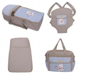 Σετ από 4 τμχ.- πορτ μπεμπέ, τσάντα, μάρσιπος και στρώμα 04106 ανοιχτό γκρι/γαλάζιο