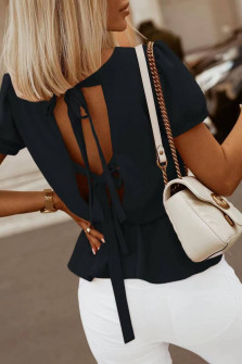Γυναικεία μπλούζα με ανοιχτή πλάτη 5871 μαύρη