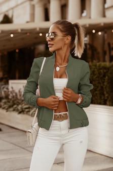 Γυναικείο μπουφάν με λάστιχο 3088 σκούρο πράσινο