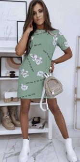 Γυναικείο φόρεμα με στάμπα 5613 πράσινο
