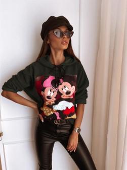 Γυναικεία χνουδωτή μπλούζα με στάμπα 13786 σκούρο πράσινο