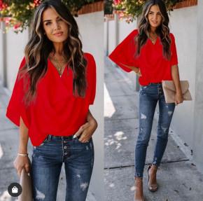 Γυναικεία μπλούζα με χαλαρό ντεκολτέ 50811 κόκκινο