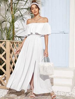 Γυναικείο μακρύ φόρεμα 5184 άσπρο