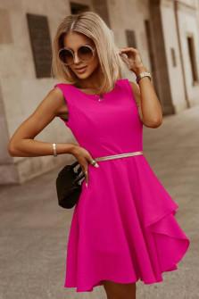 Γυναικείο φόρεμα με ζώνη 5859 φούξια
