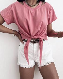 Γυναικεία μπλούζα με δέσιμο 2978 ροζ