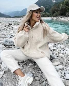 Γυναικείο χνουδωτό πουλόβερ 3868 εκρου