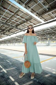 Γυναικείο μακρύ χαλαρό φόρεμα 5185 μέντα