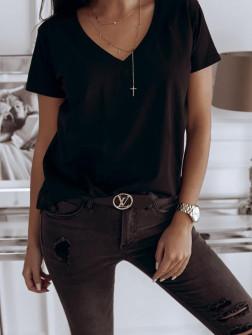 Γυναικείο κοντομάνικο με βαθύ ντεκολτέ 3638 μαύρο