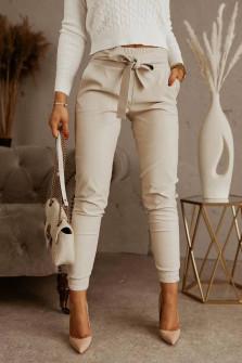 Γυναικείο παντελόνι με ζώνη 5576  μπεζ