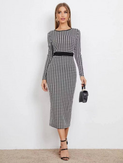 Γυναικείο μακρύ πτί-καρό φόρεμα 21842