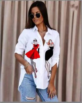 Γυναικείο πουκάμισο με στάμπα 548210
