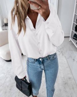 Γυναικείο σατέν πουκάμισο 6073 άσπρο
