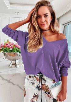 Γυναικεία μπλούζα με βαθύ ντεκολτέ 51035 μωβ