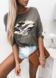 Γυναικεία εντυπωσιακή μπλούζα 4093 σκούρο πράσινο
