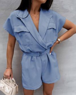 Γυναικεία κοντή ολόσωμη φόρμα με ζώνη 3779 γαλάζια