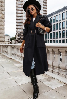 Γυναικείο μακρύ παλτό με ζώνη 8650 μαύρο