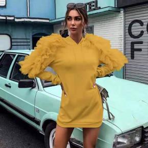 Γυναικείο φόρεμα με εντυπωσιακά μανίκια 3489 κίτρινο