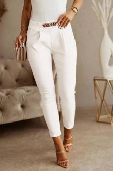 Γυναικείο εντυπωσιακό παντελόνι 5886 άσπρο