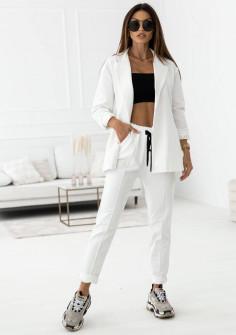 Γυναικείο σετ σακάκι-παντελόνι 21298 άσπρο