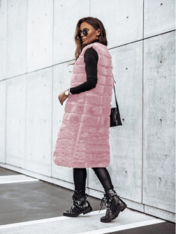 Γυναικείο μακρύ αμάνικο γουνάκι 2553 ροζ