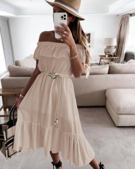 Γυναικείο φόρεμα με ζώνη 5695 μπεζ