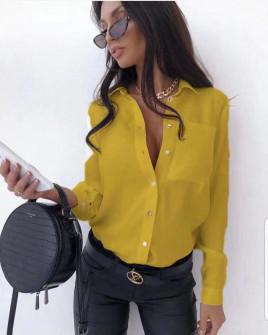 Γυναικείο μονόχρωμο πουκάμισο 3295 κίτρινο