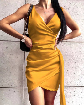 Γυναικείο εφαρμοστό φόρεμα 8237 κίτρινο