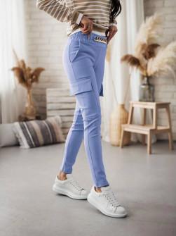Γυναικείο παντελόνι με αλυσίδα στη ζώνη και τσέπες 5513 γαλάζιο