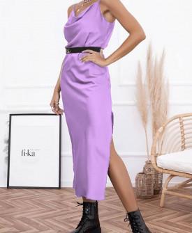 Γυναικείο φόρεμα σατέν 21070 μωβ