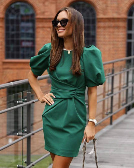 Γυναικείο φόρεμα με φουσκωτό μανίκι 21925 πράσινο