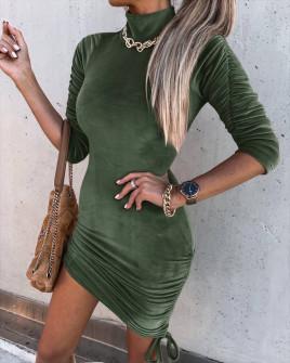 Γυναικείο μοντέρνο βελουτέ φόρεμα 6019 σκούρο πράσινο