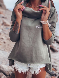 Γυναικείο μπλουζοφόρεμα ζιβάγκο 13644 χακί