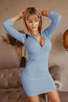 Γυναικείο εφαρμοστό φόρεμα 5536 γαλάζιο