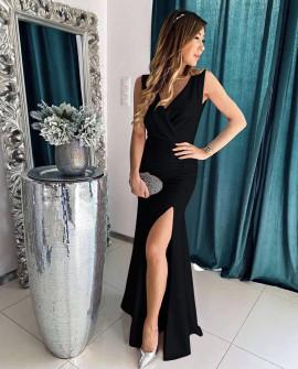 Дамска дълга рокля с цепка 5205 черна