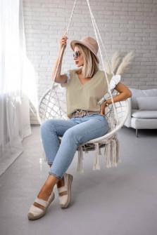 Γυναικεία μπλούζα με δαντέλα στο μανίκι 5584 μπεζ