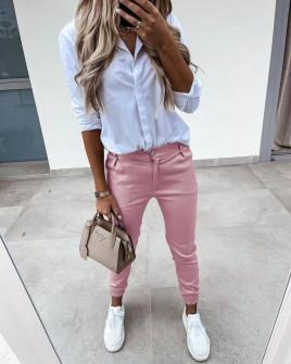 Γυναικείο απλό παντελόνι 5566 ροζ